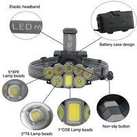 Lampe de poche 18600LM T6 8x LED lampe frontale rechargeable lampe torche 18650
