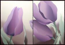 "Nancy Denison ""Beaudelaire"" Hand Signed Diptych Serigraph Fine Art purple tulips"