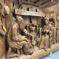 More details for vintage high relief 3d carved wooden effect french wall plaque fireside scene