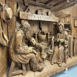 Vintage High Relief 3D Carved Wooden Effect French Wall Plaque Fireside Scene