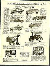1931 ADVERT Toy Mack Dump Truck Steam Shovel Roller Inner City Bus Coaster Wagon