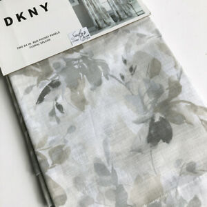"DKNY Floral Splash 2 WINDOW PANELS CURTAINS Drape GRAY BEIGE Taupe 50x84"" grey"