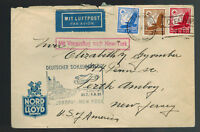 1935 Bremen Germany Catapult Cover SS Europa to Perth Amboy NJ USA