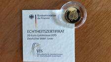 """20 Euro Gold Deutscher Wald, """"Linde"""", 2015"""