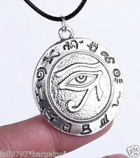 "Eye of HORUS ,RA Udjat Amulet Talisman Pendant Black Cord Necklace 30mm 18""+"