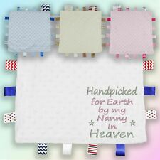 Handpicked for Earth Nanny Embroidered Baby Dimple Taggy Gift Blanket Heaven Nan