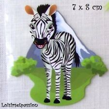 Patch Applique, Dessin Transfert, ANIMAL ZÈBRE, 7 x 8 cm, sérigraphie - T071
