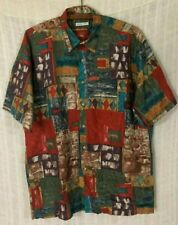 Burma Bibas Men's Watercolor Print 60 Singles Lawn Short Sleeve Shirt~Large L