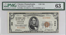 1929 Type 1 $5 National Bank Note Delaware Count NB Chester Pennsylvania #355 63