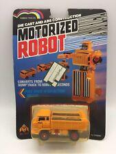 Vintage Motorized Robot Die Cast Orange Dump Truck Car Transformers Toy 1980's