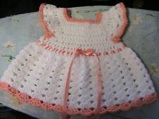 WHITE SHELLS~PEACH TRIMS CROCHET BABY DRESS NEWBORN 0-3 mos FLOWER buttons
