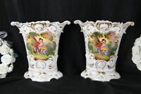 PAIR old french vieux paris porcelain antique Vases romantic floral scene