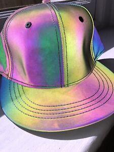 Baseball Cap Hat Holographic Iridescent Flash Reflective Luminous Rave Festival
