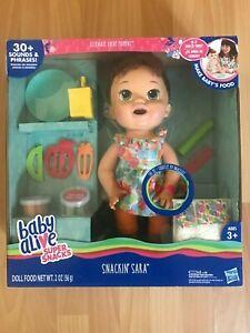 Baby Alive Super Snacks Snackin Sara Doll - Brown Hair - New
