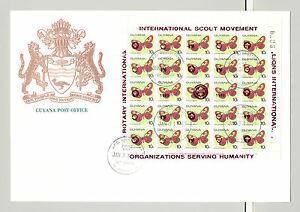 Guyana 1989 Butterflies 3v M/S of 25 RED o/p Rotary, Lions Club on 3v FDC