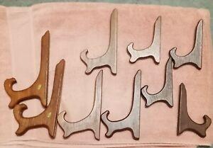 Wood Easel Type Plate Holders - 9 in set
