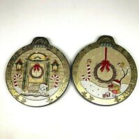 2 Small Decorative Christmas Tins Original Gourmet Passion Cookies &Items Inside