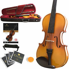 MENDINI SIZE 1/2 EBONY SOLIDWOOD VIOLIN +TUNER+BOOK+SETUP+BOWS