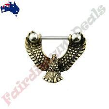 316L Surgical Steel Nipple Bar with Gold Burnish Eagle Nipple Shield