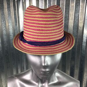 Fedora Hat Peace Of Cake Big Girls Pink Striped Blue Double Head Band One Size