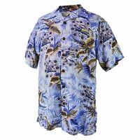 Men Aloha Shirt Cruise Luau Hawaiian Party Vintage Blue Floral Island