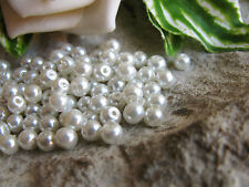 100 Glaswachsperlen in cremeweiß 4mm, Schmuck mit Perlen basteln, Glasperlen