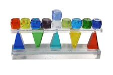 Thick Glass Menorah Colorful Triangle Blue Green Yellow USA By Riverside Studios