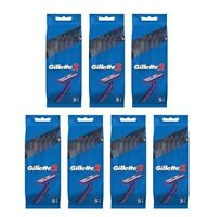 Gillette II Twin Blade Blue Disposable Razors Fixed - 7 X Pack of 5's