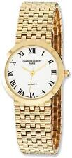 Mens Charles Hubert Satin Gold Finish Brass 32mm Watch