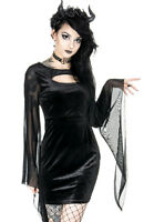 Restyle Salem Witch Velvet Gothic Occult Emo Punk Black Wide Sleeves Mini Dress
