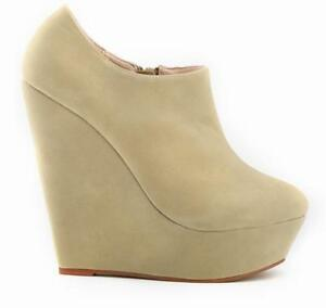 Women Ankle Boot Suede Platform Round Toe Wedge Super High Heels Warm Shoes size
