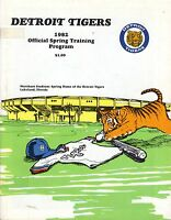 1982 Spring Training Baseball Program Grapefruit League Detroit Tigers, unscored