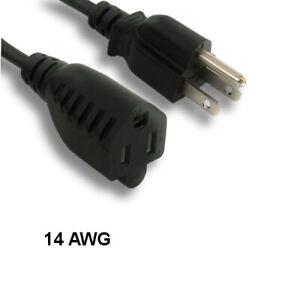 Kentek 50' Ft AC Power Cord Cable NEMA5-15P to NEMA5-15R SJTW 14 AWG 15A Outdoor