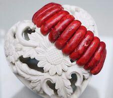 Rotes Damen Echte Schaumkoralle Armband Auf Gummi 20-24 cm