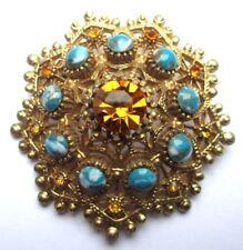 Ancienne broche bijou vintage couleur or cabochon turquoise cristal SPHINX 1872