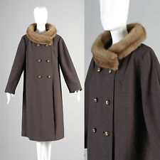 XL 1960s Mink Collar Coat VTG Double Breasted Gold Buttons Fur Fall Winter