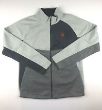 Spyder Mens XL Cirrus Gray Color Block Full Zip Sweater Jacket NWT $129