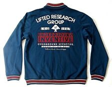 LIFTED RESEARCH GROUP LRG EMBROIDERED BLUE Varsity TRACK TOP Fleece JACKET sz L