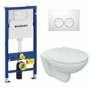 Tiefspül WC Set mit WC-Sitz GEBERIT Vorwand / Trockenbau-Element und Betätigung