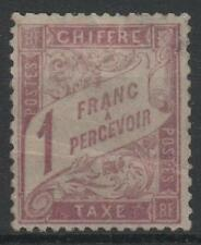"FRANCE STAMP TIMBRE TAXE 39 "" DUVAL 1F ROSE SUR PAILLE 1896 "" NEUF A VOIR  M700"