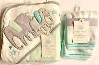 NEW Cloud Island Infant Hooded Towel & 6 Pack Washcloths Set, NWT Elephant Theme