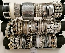 Joblot Beaded Bracelets bangles Resale Carboots Recycling bead harvest silver