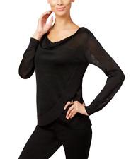 INC International Concepts Draped Metallic Sweater (Large, Deep Black)