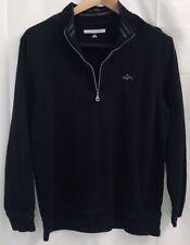 Greg Norman Mens Medium Black Pullover 1/4 Zip Long Sleeve Sweater Top Cotton
