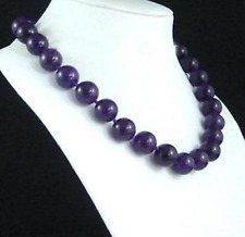 "Natural!10mm Russican Amethyst Round Beads Gemstone Necklace 18"" AAA"