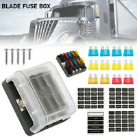 6 Way Fuse Box Block Holder Blade Terminal Circuit & 2 Spare Hole for Car Boat