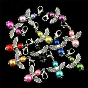 Clip-On Guardian Angel Wing Charms for Bracelet Necklace Zipper Pull Keyring