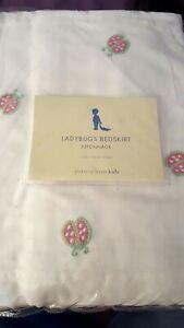 New Pottery Barn Kids Embroidered LADYBUGS Crib SKIRT girl bedskirt toddler bed