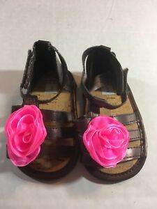 Carters Size 3 Baby Brown Sandals Spring Summer Flower Open Toe Cute