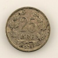 1899 Norway 25 Ore Coin (VF) Very Fine Condition